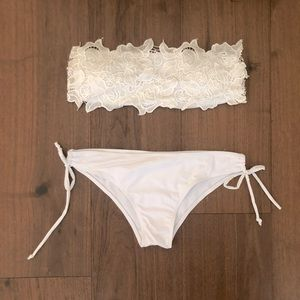 NWOT White lace strapless top and tie bikini bride